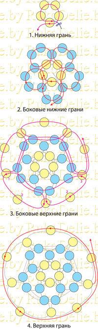 Схема объемного шарика из бисера