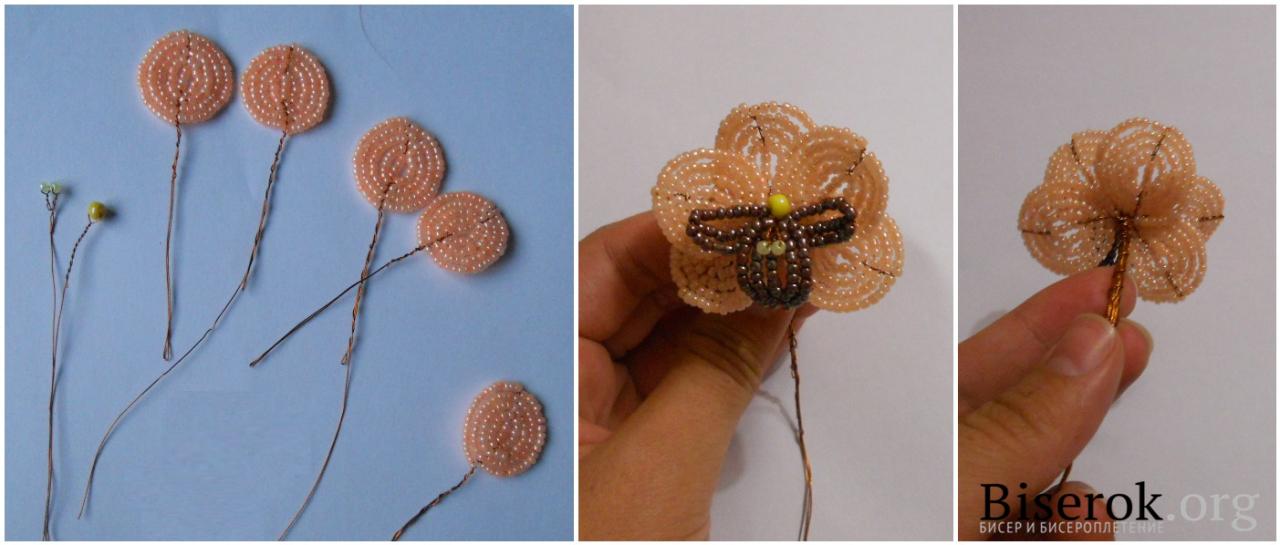 Орхидея из бисера схема с пошаговым фото