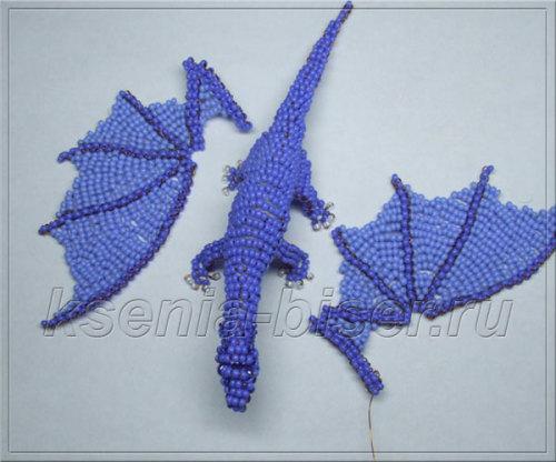 Шаг 46 - Объемный дракон из бисера: мастер-класс. Схема плетения дракончика из бисера для начинающих