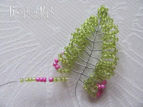Схема плетения вереска из бисера