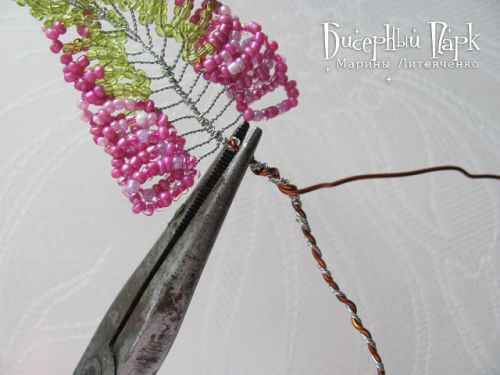 Шаг 21 - Вереск из бисера: схема плетения и мастер-класс